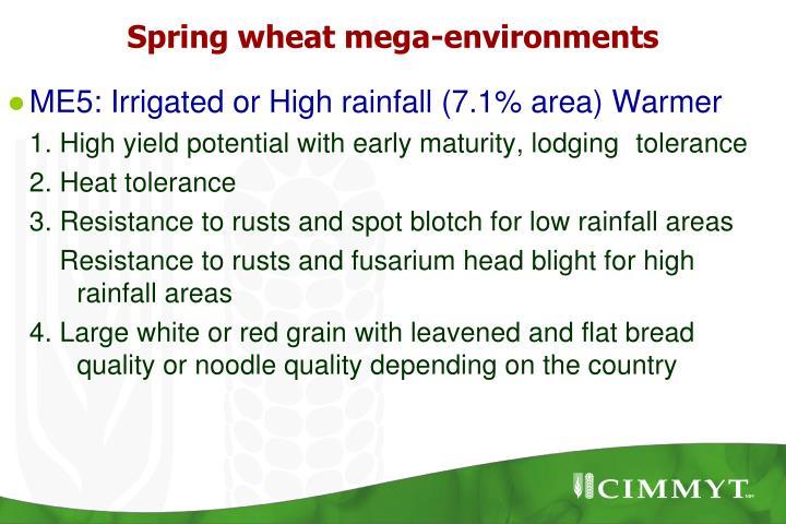 Spring wheat mega-environments
