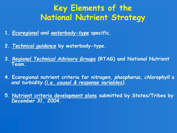 Key Elements of the