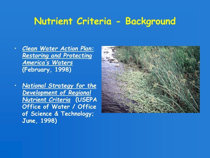 Nutrient Criteria - Background