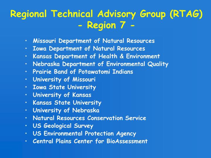 Regional Technical Advisory Group (RTAG)