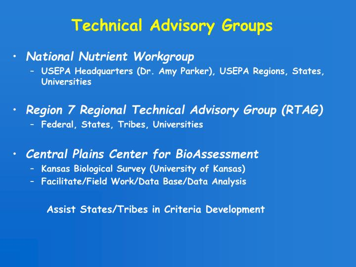 Technical Advisory Groups