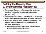 building the capacity plan 2 understanding capacity a