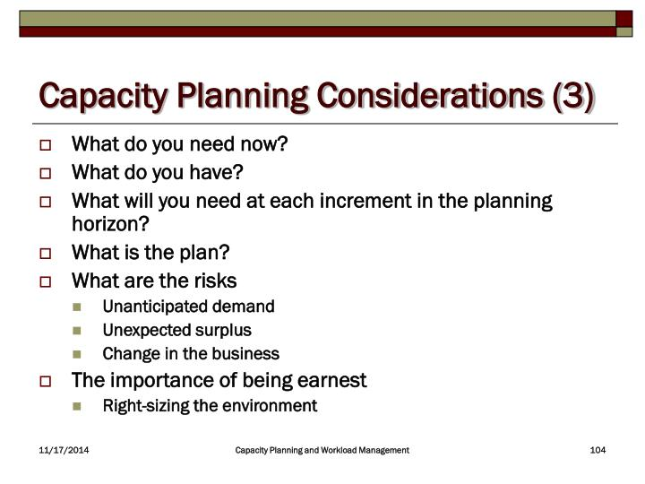 Capacity Planning Considerations (3)