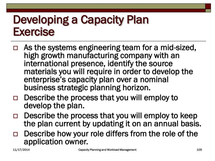 Developing a Capacity Plan