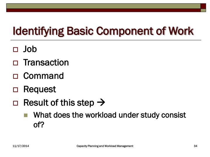Identifying Basic Component of Work