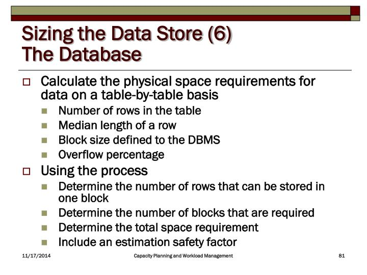Sizing the Data Store (6)