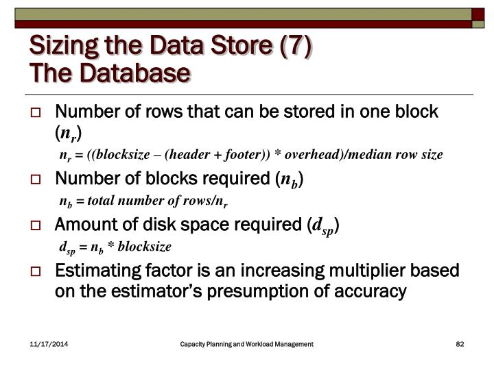 Sizing the Data Store (7)