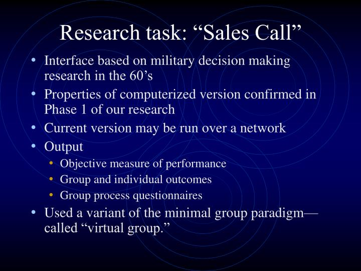"Research task: ""Sales Call"""