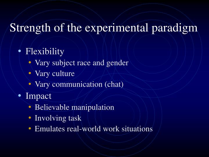 Strength of the experimental paradigm