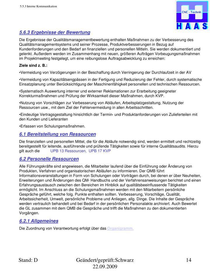 5.5.3 Interne Kommunikation