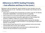 adherence to nstic guiding principles cost effective and easy to use cont