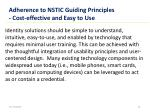 adherence to nstic guiding principles cost effective and easy to use
