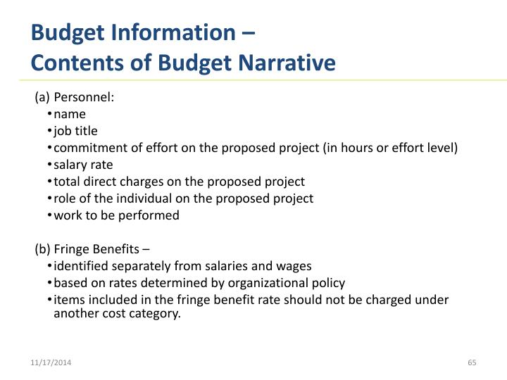 Budget Information –