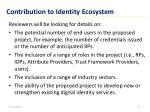 contribution to identity ecosystem