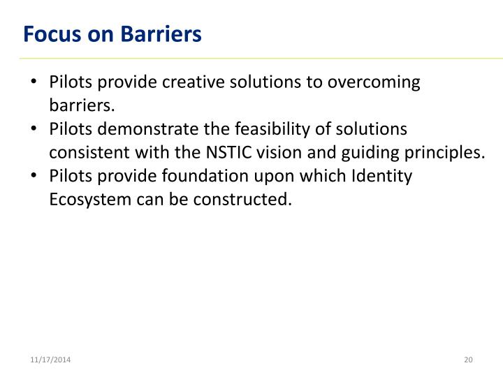 Focus on Barriers