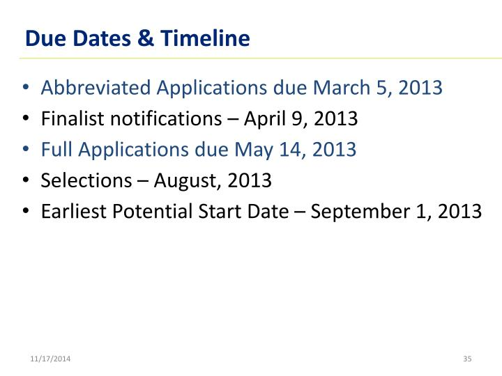 Due Dates & Timeline