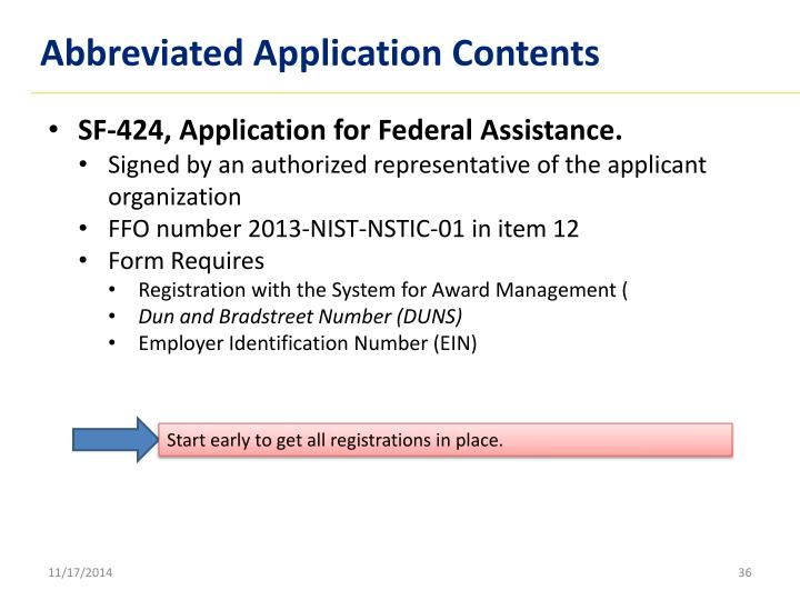 Abbreviated Application Contents