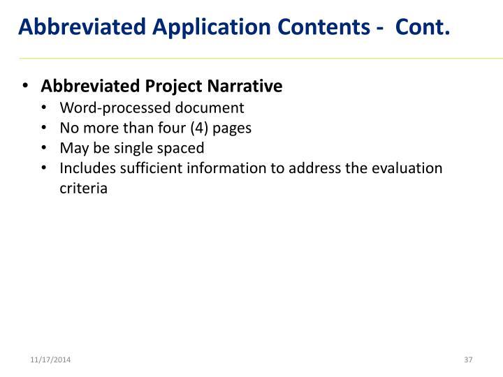 Abbreviated Application Contents -  Cont.
