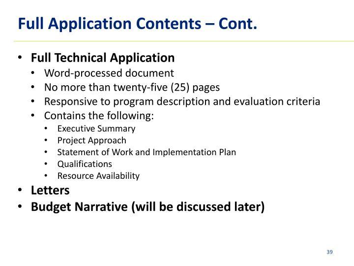 Full Application Contents – Cont.