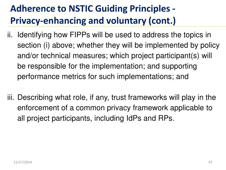 Adherence to NSTIC Guiding Principles -