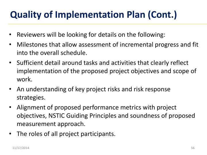 Quality of Implementation Plan