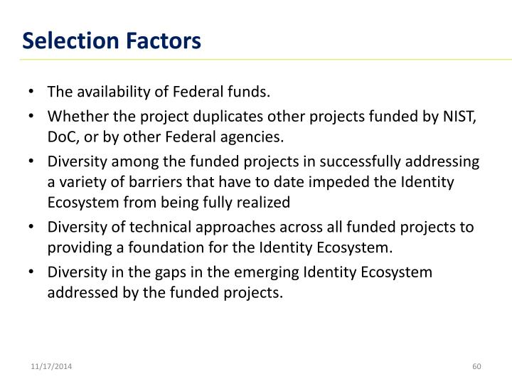Selection Factors