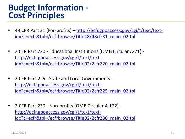 Budget Information -