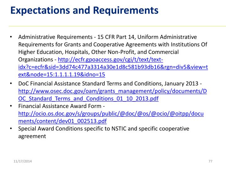 Expectations and Requirements