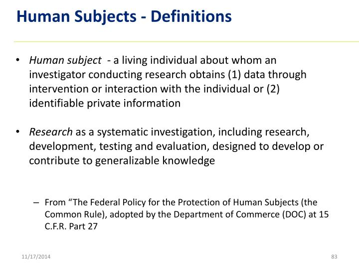 Human Subjects - Definitions
