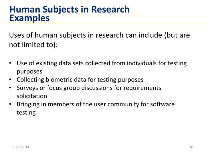 Human Subjects in Research