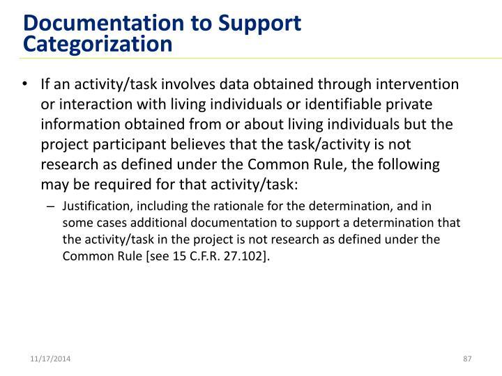 Documentation to Support Categorization