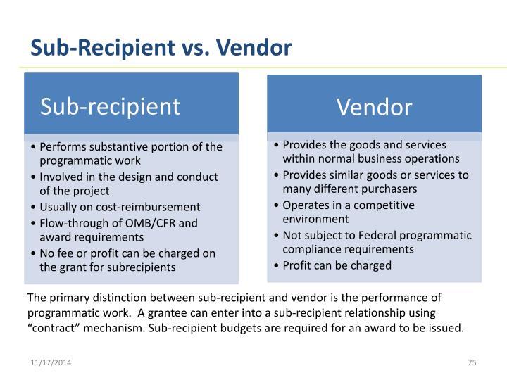 Sub-Recipient vs. Vendor