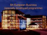ba european business specially developed programme