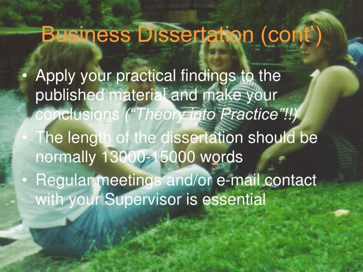 Business Dissertation (cont')