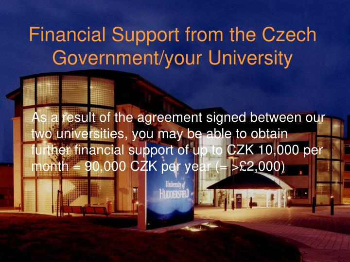 Financial Support from the Czech Government/your University