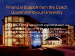financial support from the czech government your university