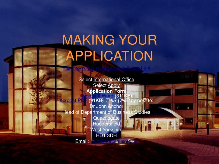 MAKING YOUR APPLICATION
