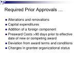 req uired prior approvals