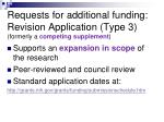 requests for additional funding revision application type 3 formerly a competing supplement
