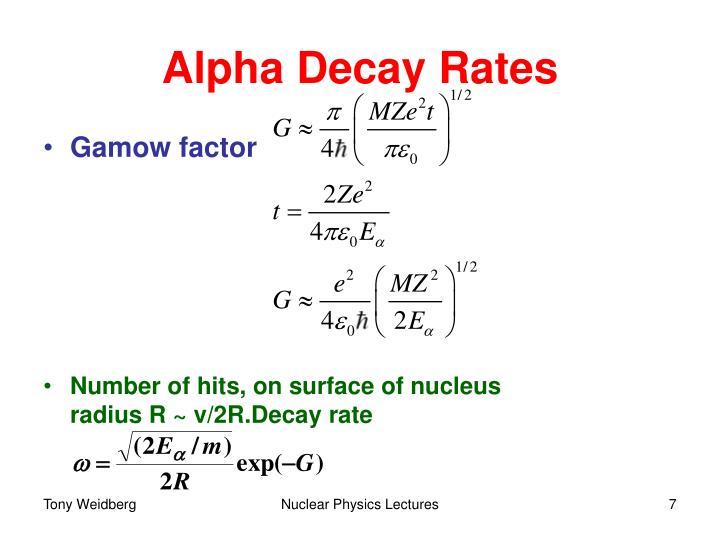 Alpha Decay Rates