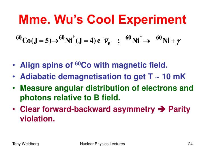 Mme. Wu's Cool Experiment