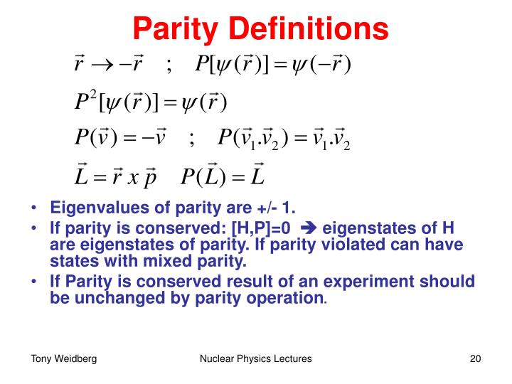 Parity Definitions