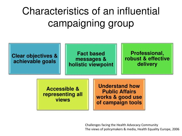 Characteristics of an influential campaigning group