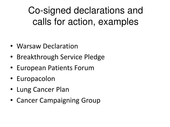 Co-signed declarations and