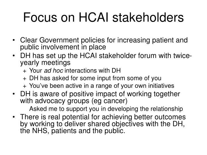 Focus on HCAI stakeholders