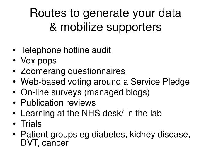 Routes to generate your data