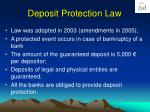 deposit protection law