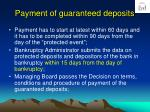 payment of guaranteed deposits