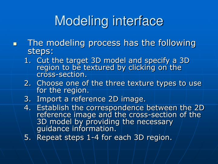 Modeling interface