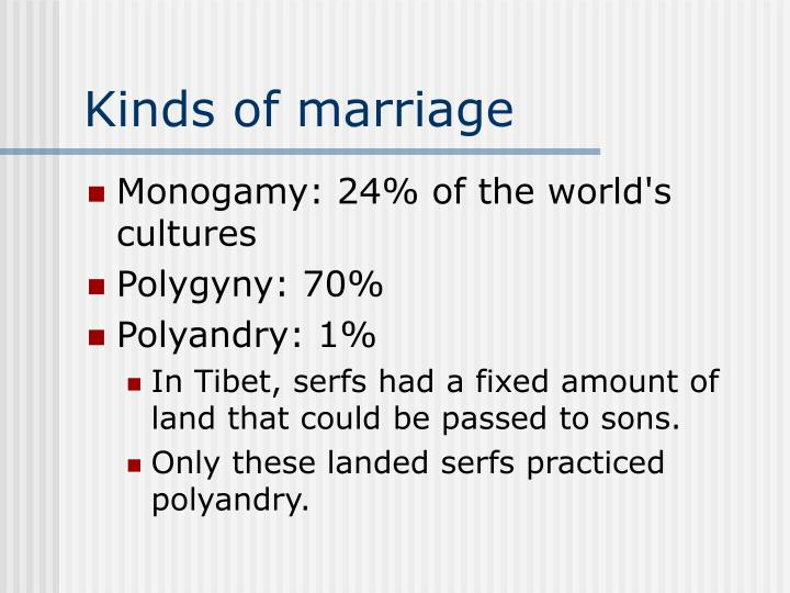 Kinds of marriage
